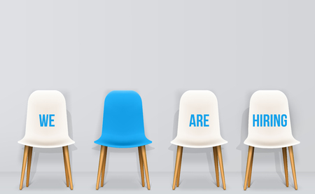 Creative vector illustration of we are hiring - recruiting concept, resources job employment career jobless interview, chairs isolated on background. Art design template. Abstract graphic element.