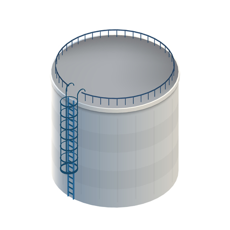 Creative vector illustration of water tank, crude oil storage reservoir isolated on transparent background. Art design gasoline, benzine, fuel cylinder template. Abstract concept graphic element.