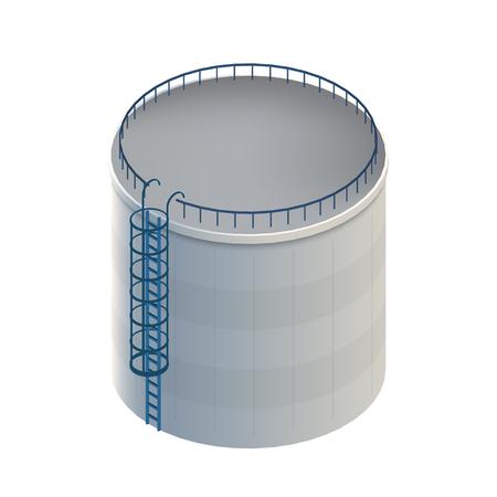 Illustrazione vettoriale creativo del serbatoio dell'acqua, serbatoio di stoccaggio del petrolio greggio isolato su sfondo trasparente. Benzina di design artistico, benzina, modello di cilindro del carburante. Elemento grafico concetto astratto.