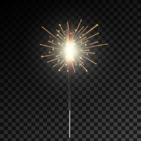 Creative vector illustration of christmas bengal fire glow light sparks isolated on transparent background. Art design bright fireworks template. Abstract concept graphic festive magic element.
