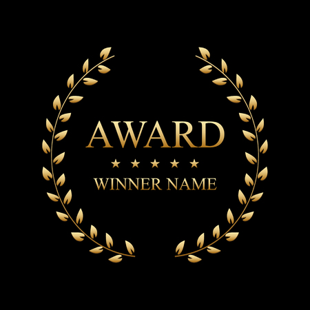 Creative vector illustration of the best award label with golden laurel wreath isolated on transparent background. Art design premium quality choice template. Abstract concept graphic victory element. Vetores