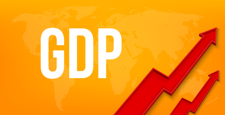 Creative vector illustration of GDP - gross domestic product text with 3d arrow financial growth, graphic grow banner background. Art design business template. Abstract concept graphic element.