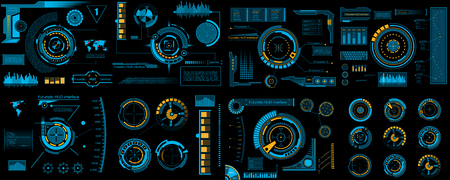 Creative vector illustration of HUD interface elements set, infographics Sci Fi isolated on transparent futuristic background. Art design template. Abstract future concept science virtual graphic. Vektorové ilustrace