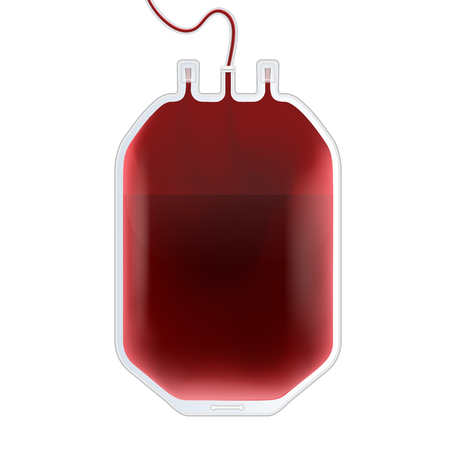 Creative vector illustration of Blood Bag with type, plastic container for plasma isolated on transparent background. Art design template. Abstract concept graphic medicine clinic element. Ilustrace