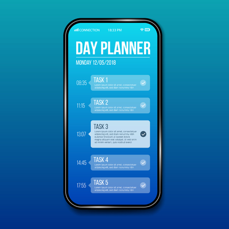 Creative vector illustration of phone day planner template, calendar done task isolated on transparent background. Art design interface to do list. Abstract concept graphic UX UI element.