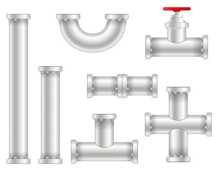Creative vector illustration of plastic water, oil, gas pipeline, pipes sewage isolated on transparent background. Art design abstract concept graphic ells, gate valve, fittings, faucet element.