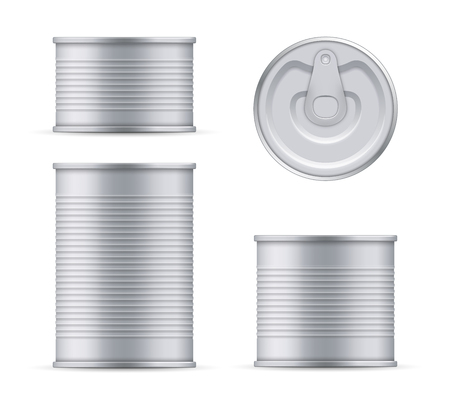 Creative vector illustration metal tin can of tuna top and front view isolated on transparent background. Art design food aluminum, steel packaging template mock up. Abstract concept graphic element. Illustration