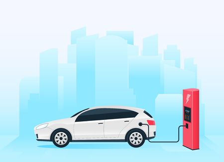 Creative vector illustration of electric charging future car, charger station isolated on transparent background. Art design electromobility e-motion template. Abstract concept graphic element.