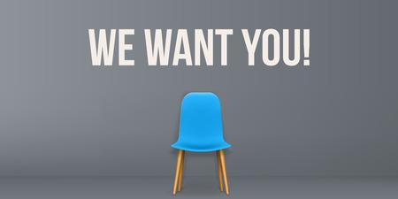 Ilustración de vector creativo de estamos contratando - concepto de contratación, recursos trabajo empleo carrera entrevista de desempleo, sillas aisladas en segundo plano. Plantilla de diseño de arte. Elemento gráfico abstracto.