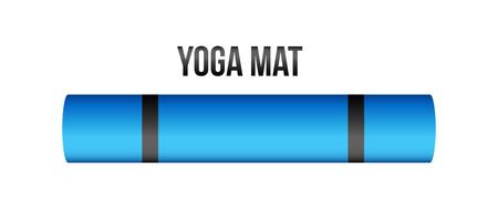 Creative vector illustration of half rolled yoga mat isolated on transparent background. Art design fitness and health template. Abstract concept graphic pilates exercise equipment element. Ilustração