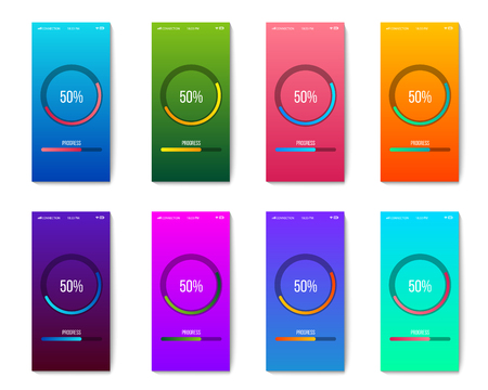 Creative vector illustration of mobile app progress bar loading isolated on transparent background. Art design preloader template. Abstract concept graphic upgrade, update, download diagram element.