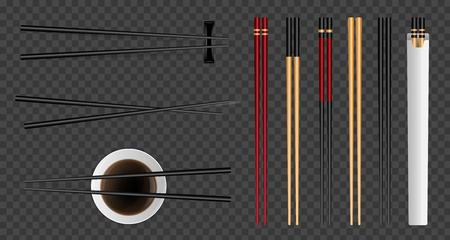 Ilustración de vector creativo de palillos de comida de sushi con salsa de soja aislado sobre fondo transparente. Plantilla de utensilios de bambú asiático tradicional de diseño de arte. Elemento gráfico del concepto abstracto. Ilustración de vector