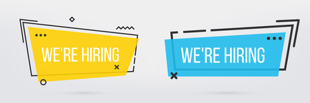 Creative vector illustration of we are hiring - join our team text banner isolated on transparent background. Art design business recruiting template. Abstract concept job vacancy advertisement. Banco de Imagens - 124954886