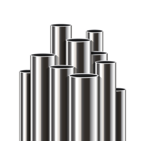 Creative vector illustration of steel, aluminum, copper, metal pipes, profile stack of tube, pvc isolated on transparent background. Art design industrial template. Abstract concept graphic element.