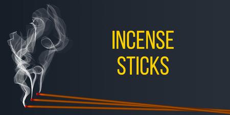 Illustration vectorielle créative d'arôme de bâton d'encens réaliste avec de la fumée isolée sur fond transparent. Art design brûlant de l'encens. Élément graphique de concept abstrait nouvel an chinois. Vecteurs