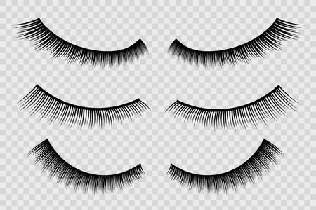 Creative vector illustration of false eyelashes, female lashes, mascara lash brush isolated on transparent background. Art design thick cilia beautiful make-up. Abstract concept graphic element.