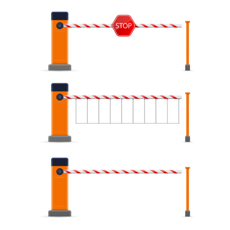 Creative vector illustration of open, closed parking car barrier gate set with stop sign isolated on transparent background. Art design street road stop border. Abstract concept graphic element. Vettoriali