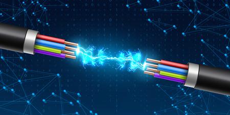 Kreative Vektorillustration des elektrischen leuchtenden Blitzes zwischen farbigem Bruchkabel, Kupferdrähten mit Schaltungsfunken lokalisiert auf transparentem Hintergrund. Kunstdesign. Abstraktes Konzeptelement.