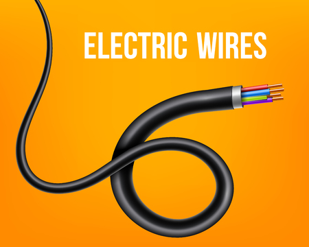 Creative vector illustration of flexible electric copper wires, network curved power cable isolated on transparent background. Art design electronics and connection. Abstract concept graphic element. 矢量图像