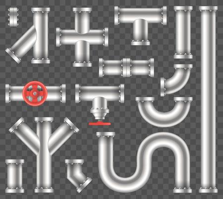 Illustration vectorielle créative d'eau métallique en acier, pétrole, gazoduc, eaux usées de tuyaux isolés sur fond transparent. Art design abstrait concept graphique ells, vanne, raccords, élément de robinet. Vecteurs