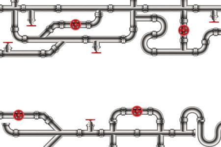 Ilustración de vector creativo de aceite industrial, agua, sistema de tuberías de gas y accesorios de tuberías de mercancías, válvulas en el fondo. Diseño de arte en fontanería y grifería. Elemento gráfico del concepto abstracto.
