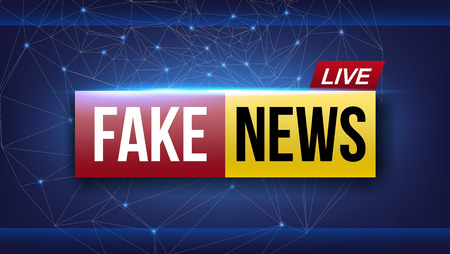 Creative vector illustration of fake news live broadcasting television screen isolated on transparent background. Art design channel tv template. Abstract concept graphic element. Ilustração