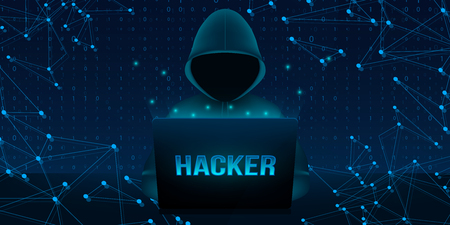 Creative vector illustration of computer hacker with hoodie and dark obscured face, pc laptop on background. Art design ybersecurity, internet security template. Abstract concept graphic element.