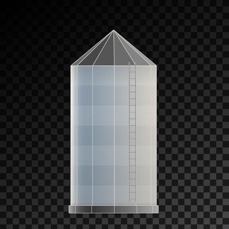 Illustrazione vettoriale creativo del magazzino di silo agricolo per ascensore di stoccaggio del grano isolato su sfondo trasparente. Modello di fattoria di design artistico. Grano grafico di concetto astratto, elemento del serbatoio di mais.