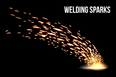 Creative vector illustration of welding metal fire sparks isolated on transparent background. Art design during iron cutting template. Abstract concept graphic weld element. Ilustração