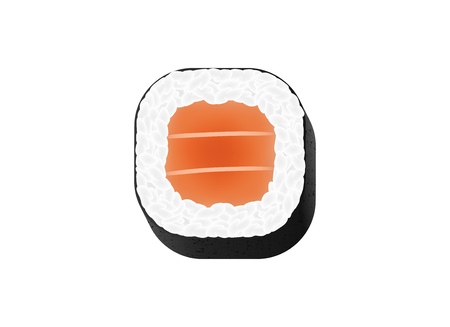 Creative vector illustration of chopsticks holding sushi salmon pieces roll isolated on transparent background. Art design snack template. Abstract concept restaurant, bar, shop menu graphic element. 向量圖像