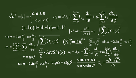 Creative vector illustration of math equation, mathematical, arithmetic, physics formulas background. Art design screen, blackboard template. Abstract concept graphic element. Stok Fotoğraf - 124954938