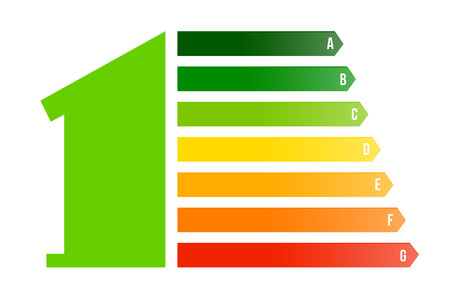 Creative vector illustration of home energy efficiency rating isolated on background. Art design smart eco house improvement template. Abstract concept graphic certification system element. Ilustração