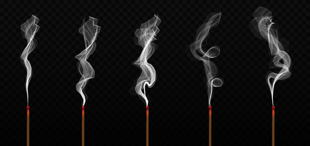 Creative vector illustration of realistic incense stick aroma with smoke isolated on transparent background. Art design incense burning. Abstract concept Chinese New Year graphic element.