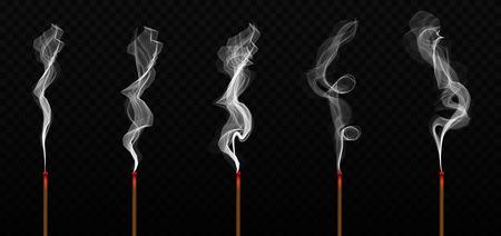 Illustration vectorielle créative d'arôme de bâton d'encens réaliste avec de la fumée isolée sur fond transparent. Art design brûlant de l'encens. Élément graphique de concept abstrait nouvel an chinois.