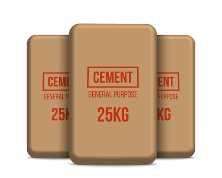 Creative vector illustration of cement bags, paper sacks isolated on transparent background. Art design template. Abstract concept graphic element.