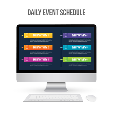 Creative vector illustration of daily event schedule blank isolated on transparent background. Art design timeline business day plan. Abstract concept timetable, timeframe board graphic element.