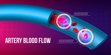 Creative vector illustration of artery red blood cells stream flow, microbiological medical erythrocyte vessel isolated on background. Art design medicine. Abstract concept graphic science element.