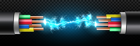 Creative vector illustration of electric glowing lightning between colored break cable, copper wires with circuit sparks isolated on transparent background. Art design. Abstract concept element.