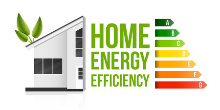 Creative vector illustration of home energy efficiency rating isolated on background. Art design smart eco house improvement template. Abstract concept graphic certification system element. Illustration