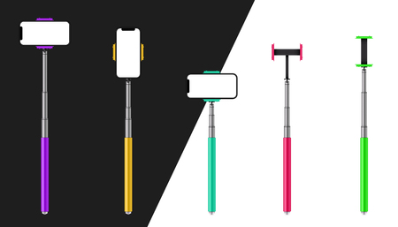 Creative vector illustration of monopod selfie stick with phone, smartphone isolated on transparent background. Art design template. Abstract concept graphic element.
