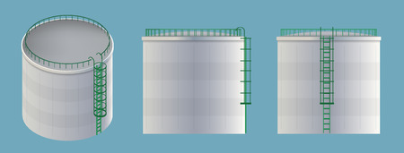Creative vector illustration of water tank, crude oil storage reservoir isolated on transparent background. Art design gasoline, benzine, fuel cylinder template. Abstract concept graphic element. Illustration