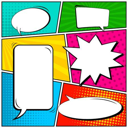 Abstract creative concept comic pop art style blank, layout template with clouds beams and isolated dots background. For sale banner, empty speech bubble set, illustration halftone book design