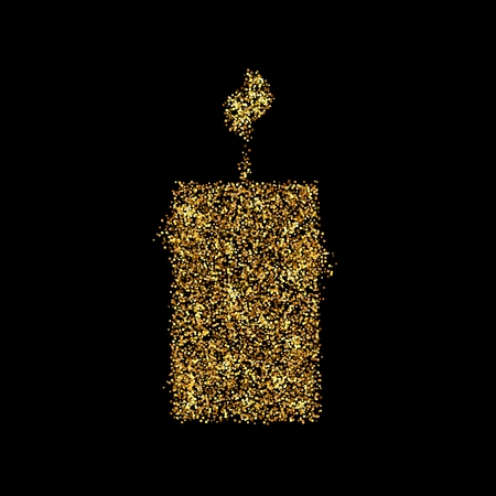 Gold glitter icon of candle isolated on background. Art creative concept illustration for web, glow light confetti, bright sequins, sparkle tinsel, abstract bling, shimmer dust, foil.