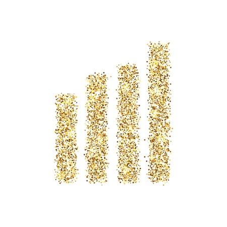 Gold glitter icon of wireless isolated on background. Art creative concept illustration for web, glow light confetti, bright sequins, sparkle tinsel, abstract bling, shimmer dust, foil 스톡 콘텐츠