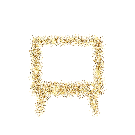 Gold glitter icon of TV screen isolated on background. Art creative concept illustration for web, glow light confetti, bright sequins, sparkle tinsel, abstract bling, shimmer dust, foil