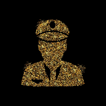 Gold glitter icon of police isolated on background. Art creative concept illustration for web, glow light confetti, bright sequins, sparkle tinsel, abstract bling, shimmer dust, foil. Zdjęcie Seryjne - 120146030