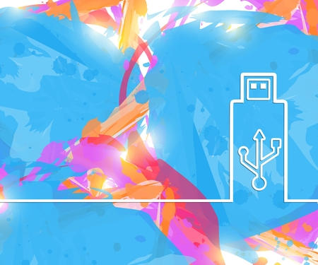Creative Usb. Art illustration template background. For presentation, layout, brochure, logo, page, print, banner, poster, cover, booklet, business infographic, wallpaper, sign, flyer.