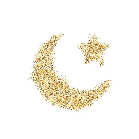 Gold glitter icon of Crescent Islamic isolated on background. Art creative concept illustration for web, glow light confetti, bright sequins, sparkle tinsel, abstract bling, shimmer dust, foil.