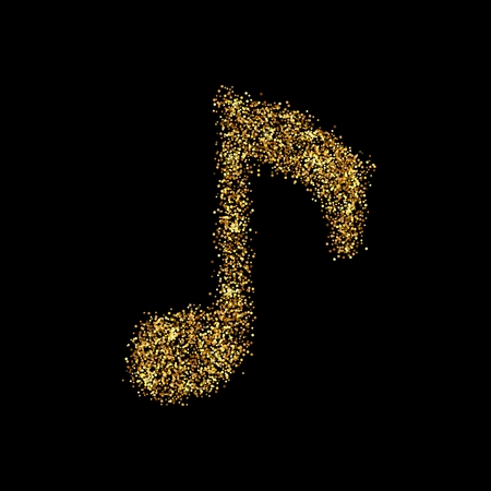 Gold glitter icon of musical key isolated on background. Art creative concept illustration for web, glow light confetti, bright sequins, sparkle tinsel, abstract bling, shimmer dust, foil. Stock Photo