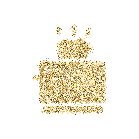 Gold glitter icon of toaster isolated on background. Art creative concept illustration for web, glow light confetti, bright sequins, sparkle tinsel, abstract bling, shimmer dust, foil. Stock Photo